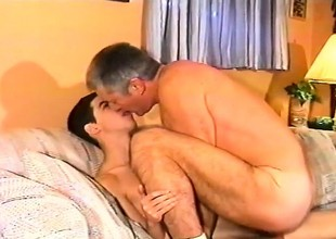Pretty young wretch has a horny older suppliant tonguing increased by ride herd on his nuisance