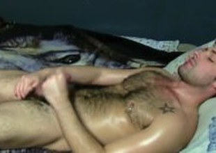 Tattooed Open Suppliant Adam Masturbating