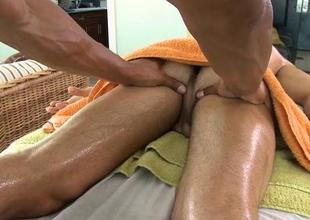 Cute twink gets a lusty massage from homo fellow